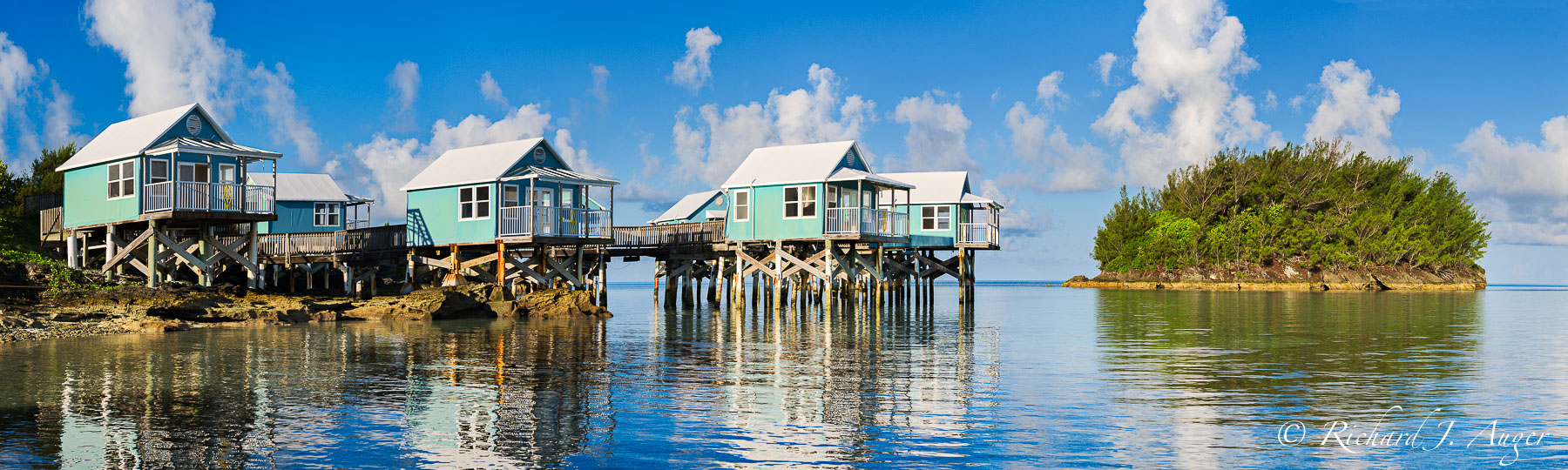 9 Beaches, Bermuda, Stilt Houses, Cottages, Caribbean, Reflections, Photograph, Panorama