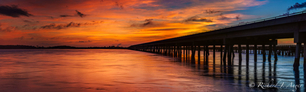 Amelia Island State Park, Bridge, Orange, Sunset, Water, Sky, Panorama, Landscape, Photograph, Photographer