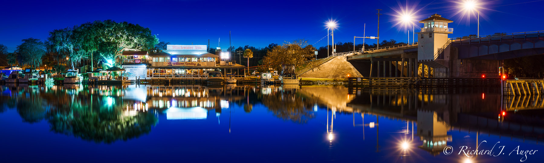 Astor Bridge, St Johns River, Florida, Night, Lights, River, Panorama, Blues, Long Exposure