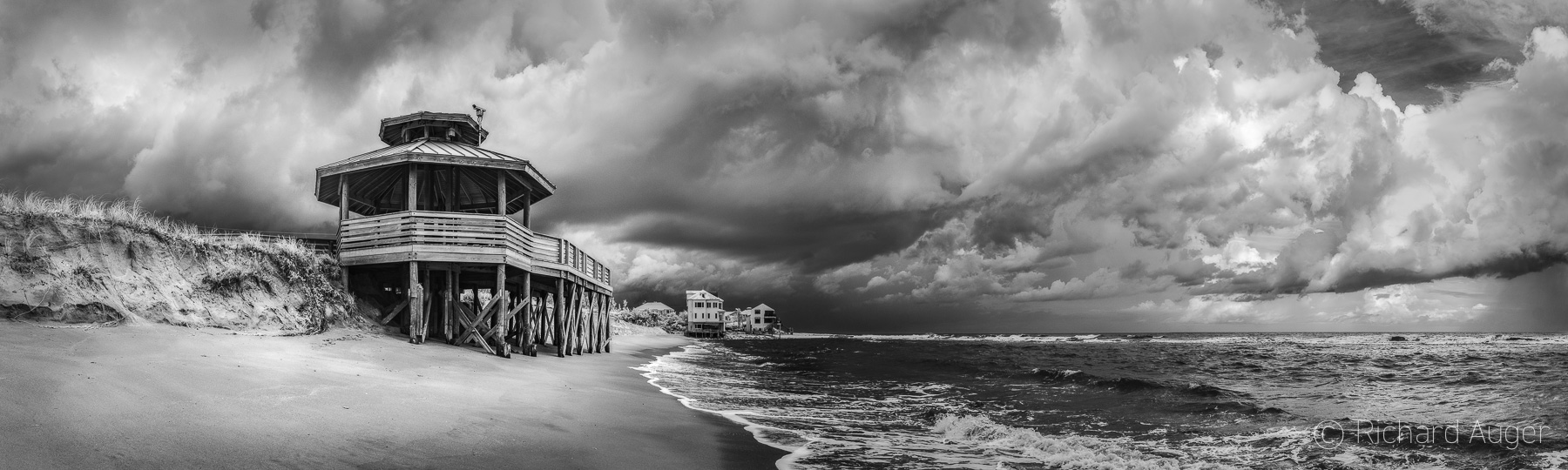 Bathtub Reef Beach, Stuart Jensen Beach Florida, Panorama, Photograph, Landscape, Stormy, Black and White