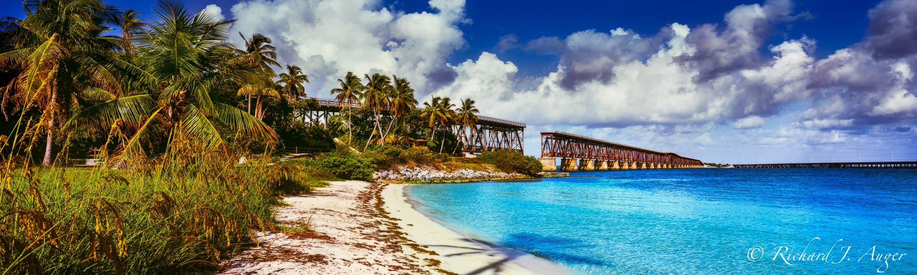 Bahia Honda State Park, Florida Keys, Bridge, Panorama, Blues, Palm Trees, Old Florida, Coastal, Photograph, Landscape, Image, Canvas