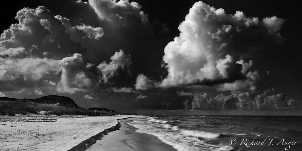 St Joe Peninsula State Park, Cape San Blas, Florida Panhandle, Beach, Remote, Black and White, Dunes, Storm, Waves, Clouds, Panorama
