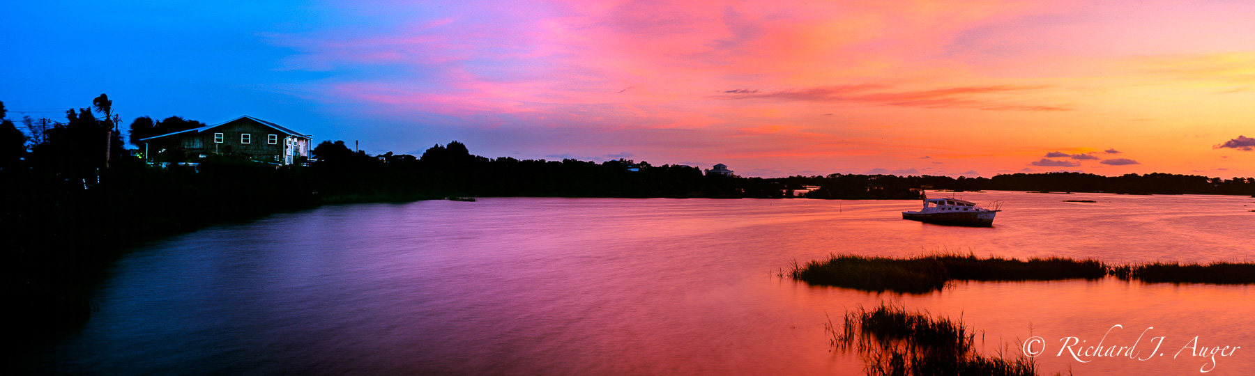 Cedar Key, Florida, Sunset, Shipwreck, Orange, Blue, Coastal, Nautical, Panorama