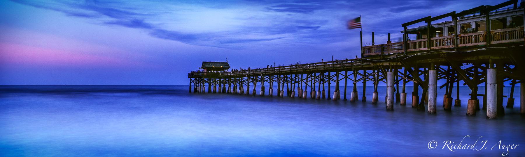 Cocoa Beach Pier, Florida, Panorama, Sunset, Blues, Calm