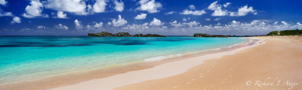 Coopers Island Preserve, Bermuda, St George Parish, Seascape, Beach, Tropical, Panorama, sunny, midday, bright