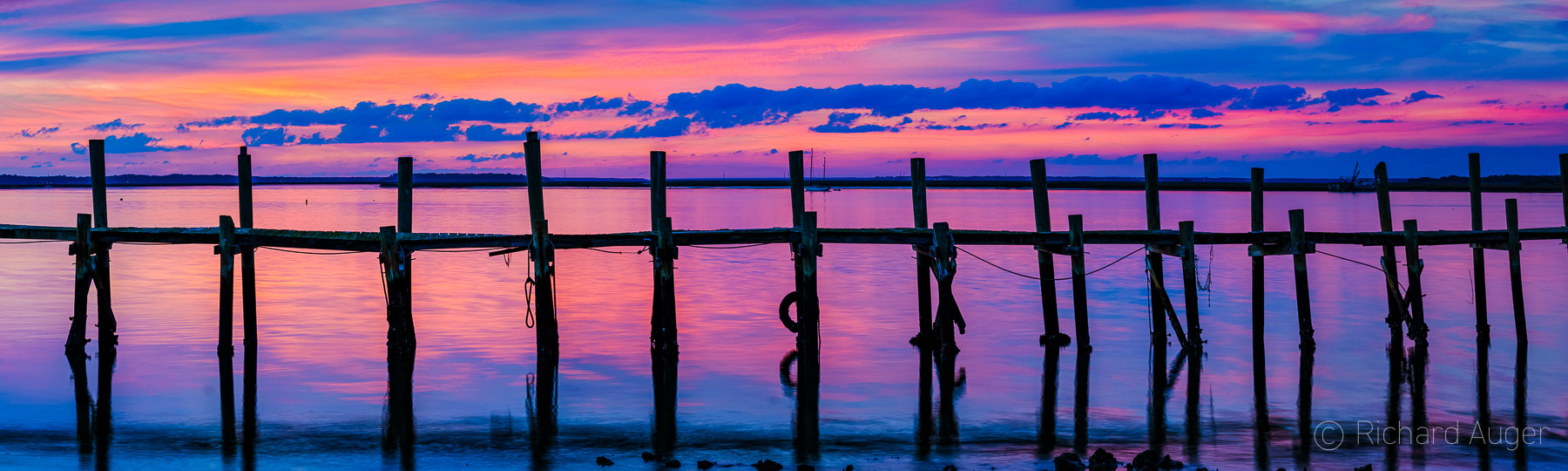 Cumberland Sound, Fernandina Beach, Amelia Island, Florida, Dock, Sunset, Panorama