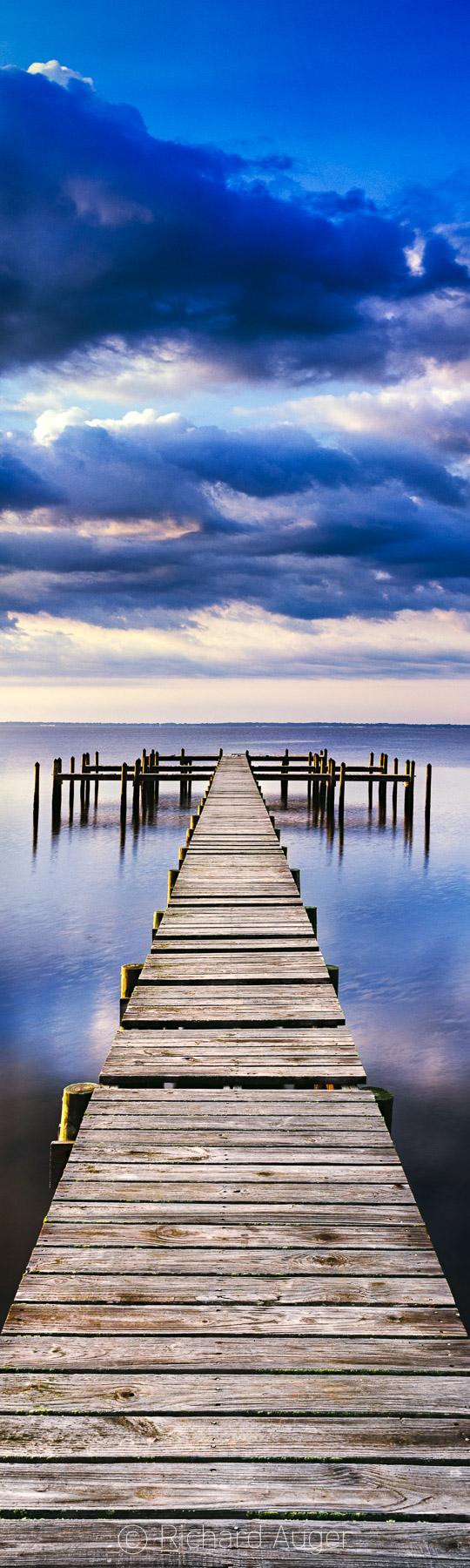 Dock, Florida Panhandle, Gulf Coast, Pilings, Panorama, Old Florida, Storm, Blues, Photograph, Vertical Panorama