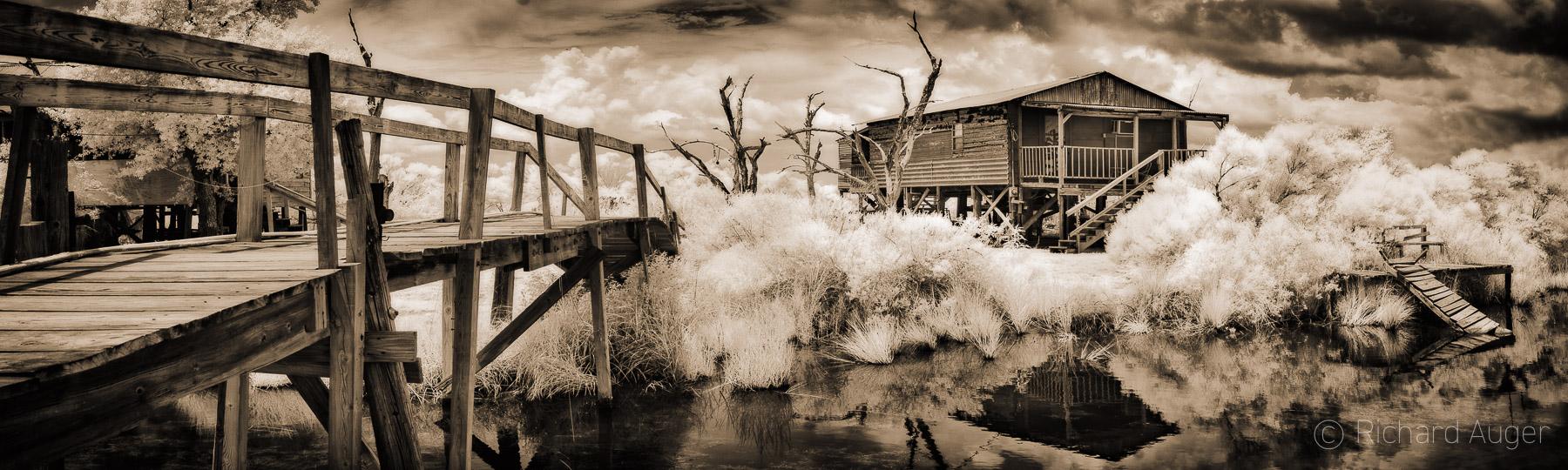 Isle De Dean Charles, Bayou, Louisiana, Fishing Shack, Bridge, Water, Swamp, Sepia