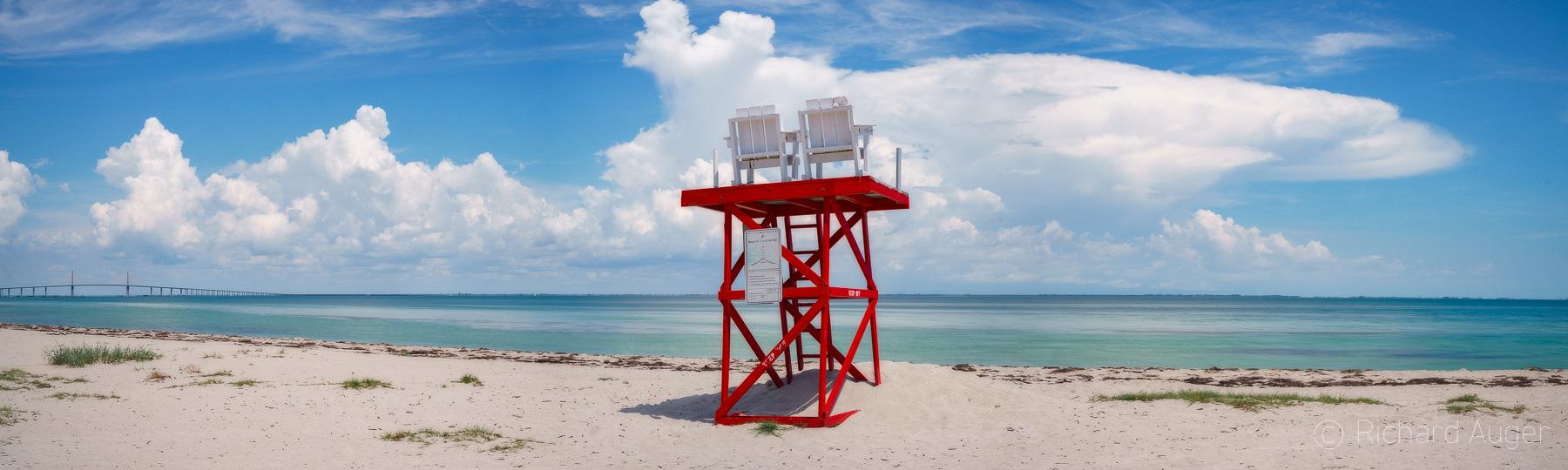 Fort De Soto Park, Florida, Lifeguard, Skyway Bridge, Pinellas County, St Petersburg, Beach, Sand Dunes, Ocean, Blue, Water, Photograph, Photographer, Photo, Landscape, Richard Auger