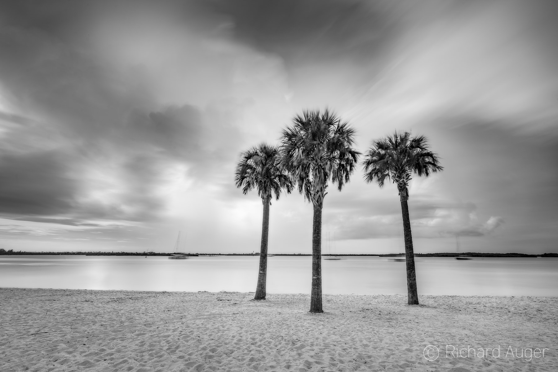 Ft Beach, Fort Pierce Florida, Photograph, Long Exposure, Black and White