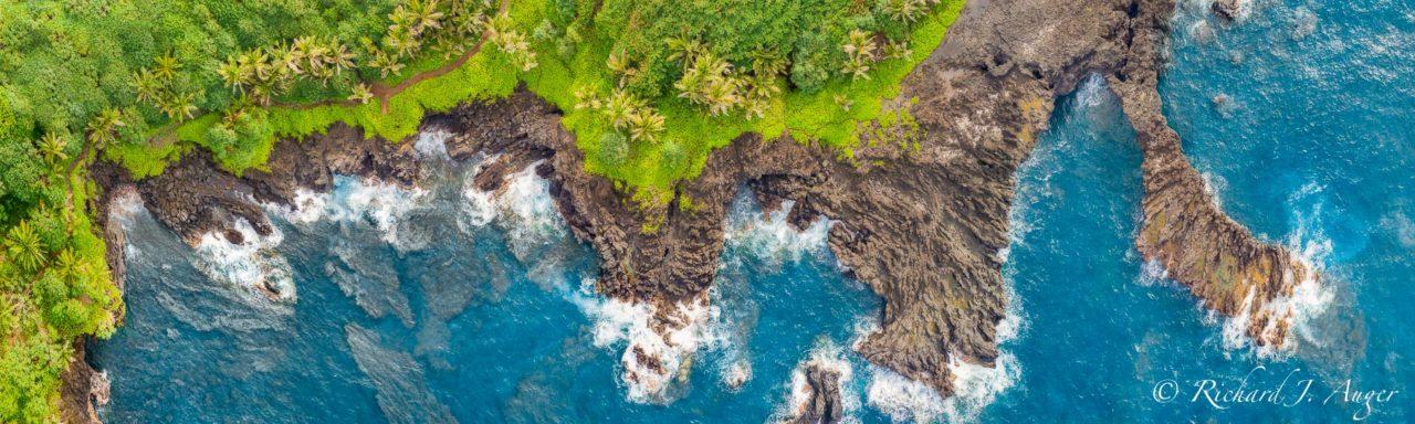 Hana Bay, Hawaii, Maui, Drone, Aerial, Cliffs, Ocean, Water Blue, Waves
