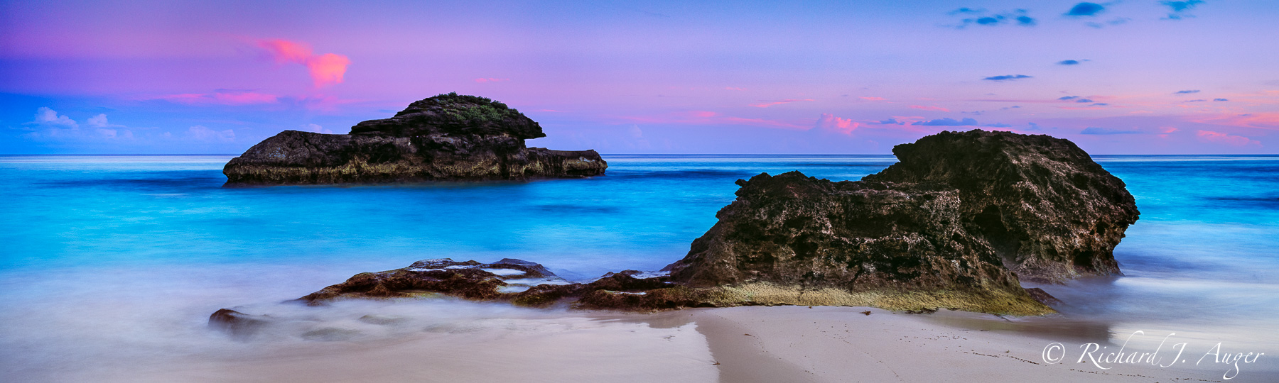 Horshoe Bay, Bermuda, Rocks, Sunset, Purples, Blues, Calm, Seascape, Ocean, Panorama