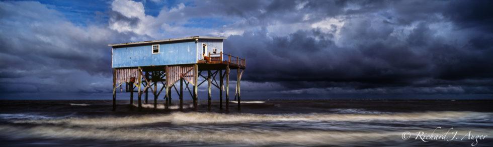 Hunting Island, South Carolina, Panorama, Photographer, Storm, Stilt House, Fishing Shack, Ocean, Waves, Blues