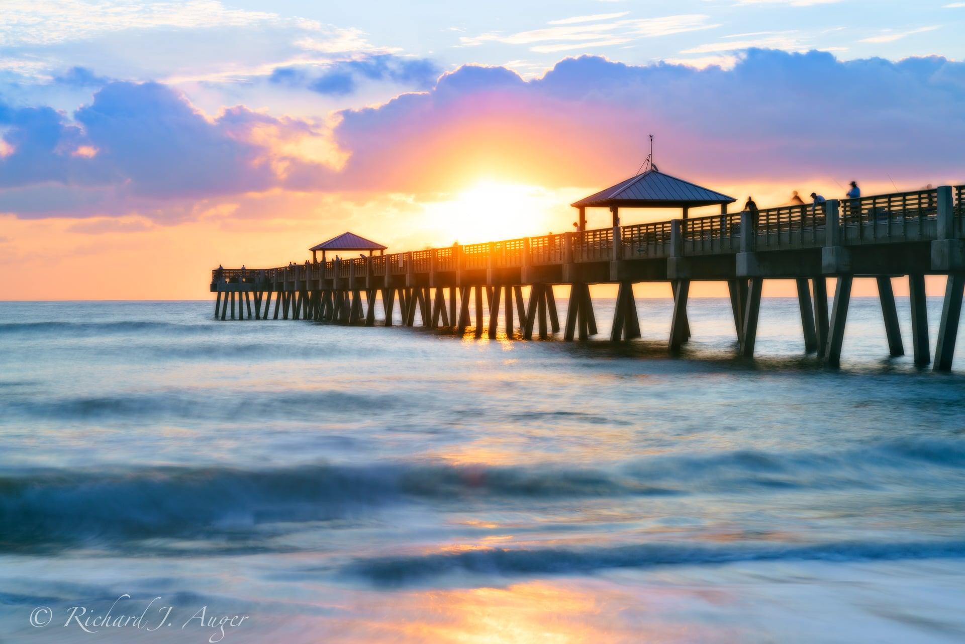 Juno Beach Pier, Palm Beach County, Sunrise, Blue, Orange, Ocean, Fishing, Richard Auger