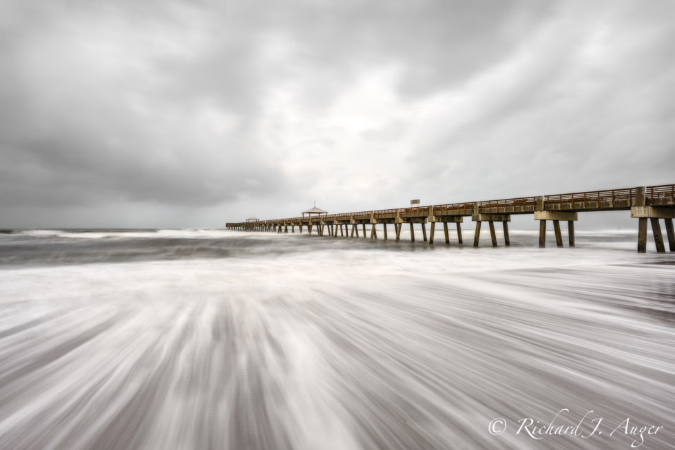 Juno Beach Pier, Florida, Jupiter, Hurricane, Gray, Photograph, Photography, Giclee