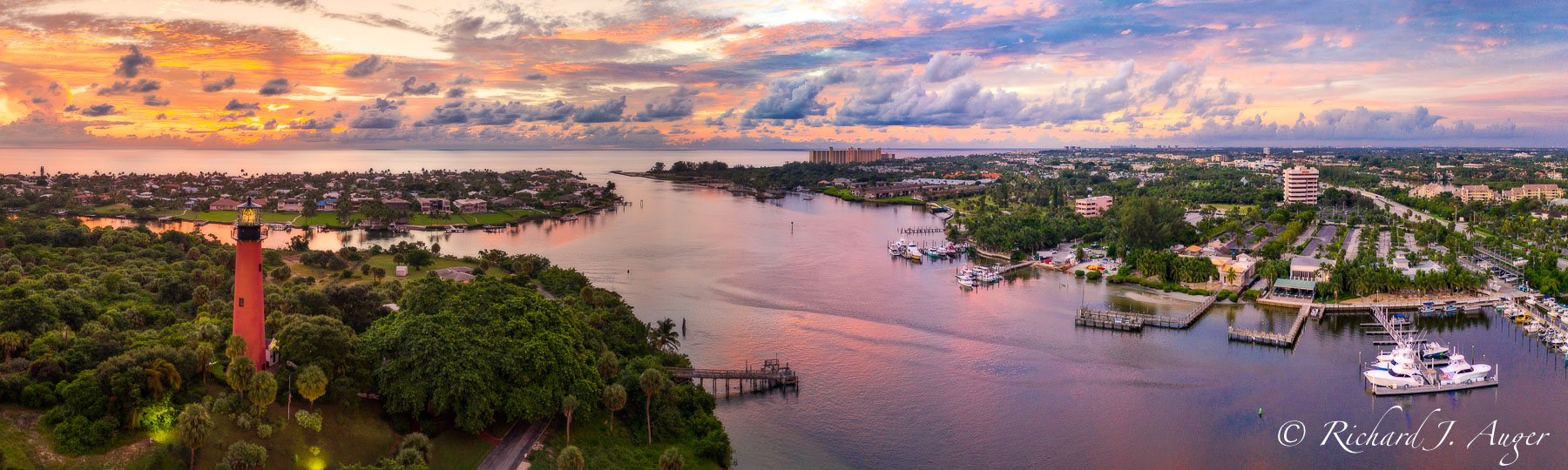 Jupiter Lighthouse, Jupiter Inlet, Florida, Drone, Aerial, Sunrise, Pink, Orange, Purple
