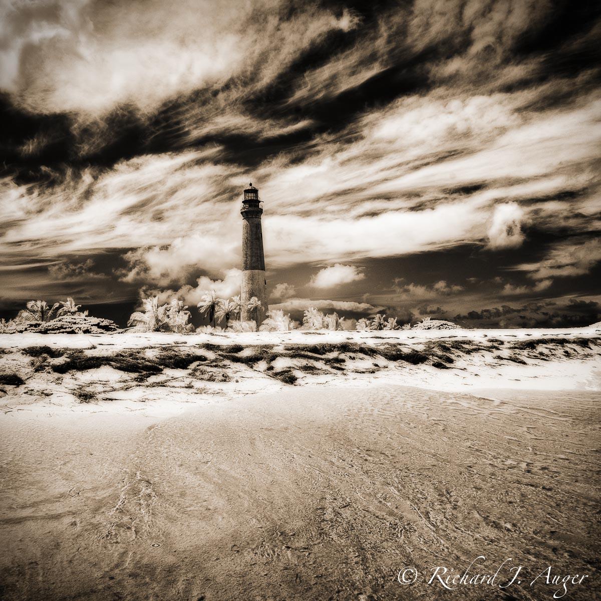 Loggerhead Lighthouse, Dry Tortugas National Park, Loggerhead Key, Storm, Water, Drama, Landscape, Photograph, sepia tone, monochrome