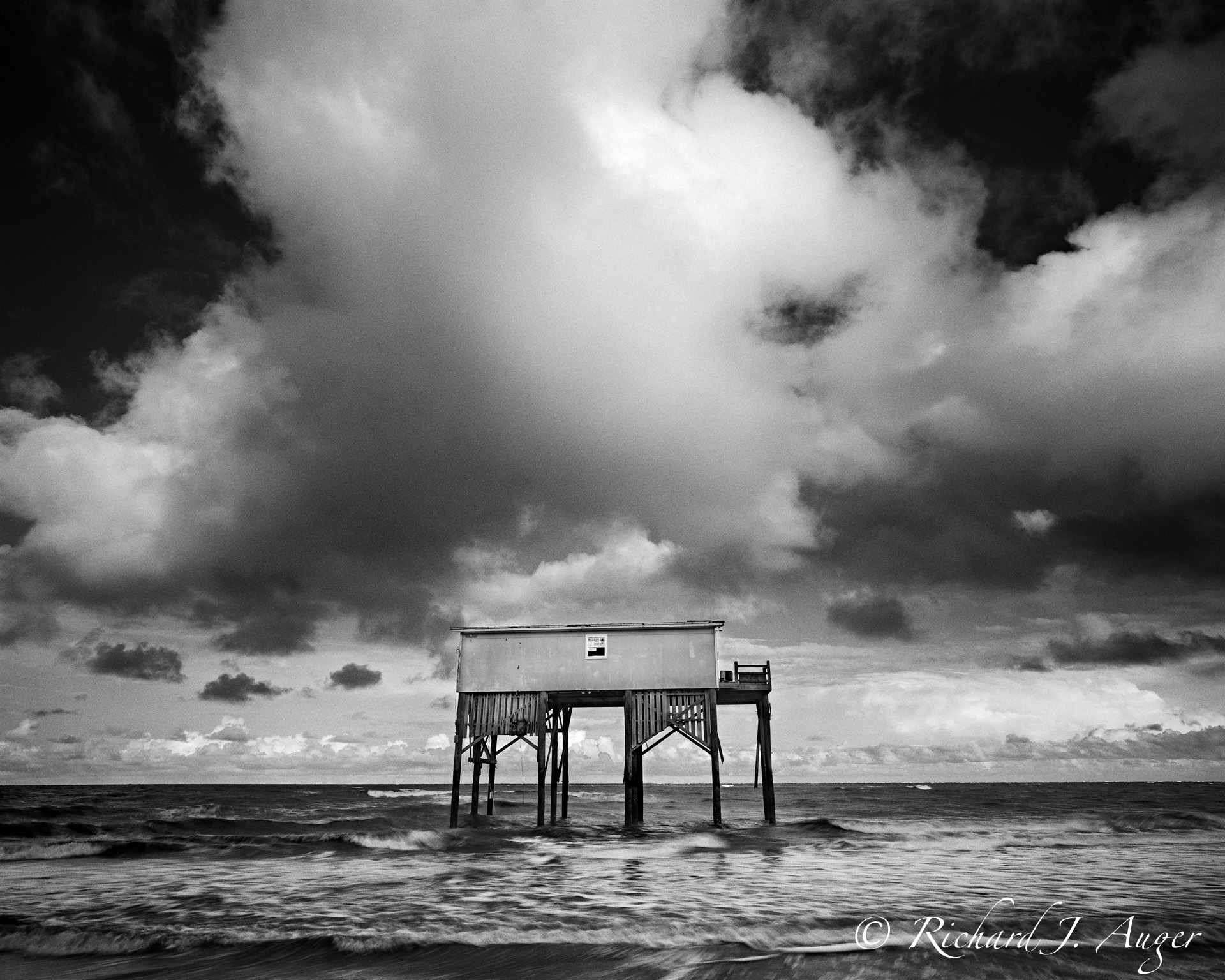 Hunting Island, South Carolina, Fishing Shack, Stilt House, Black and White, storm, ocean, waves