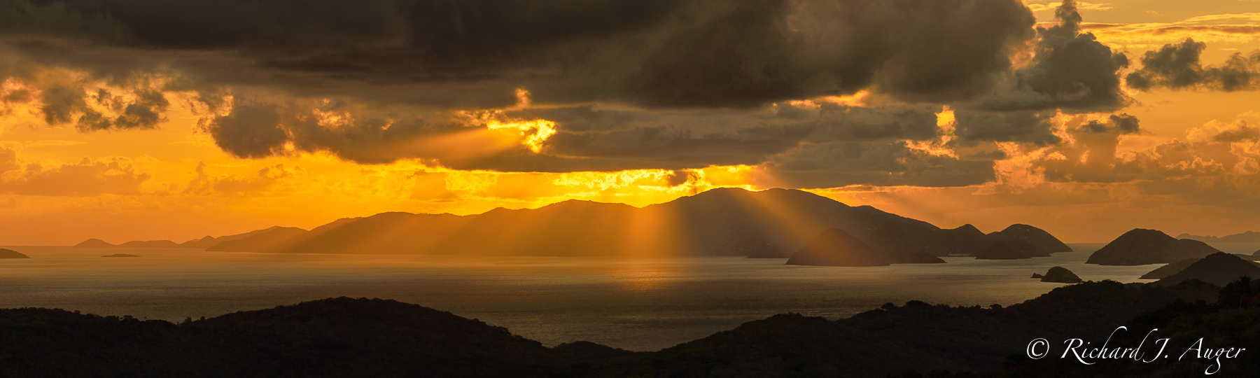 Magens Bay Overlook, St Thomas, US Virgin Islands, Dramatic, Sunrise, Orange, Mountains, Ocean