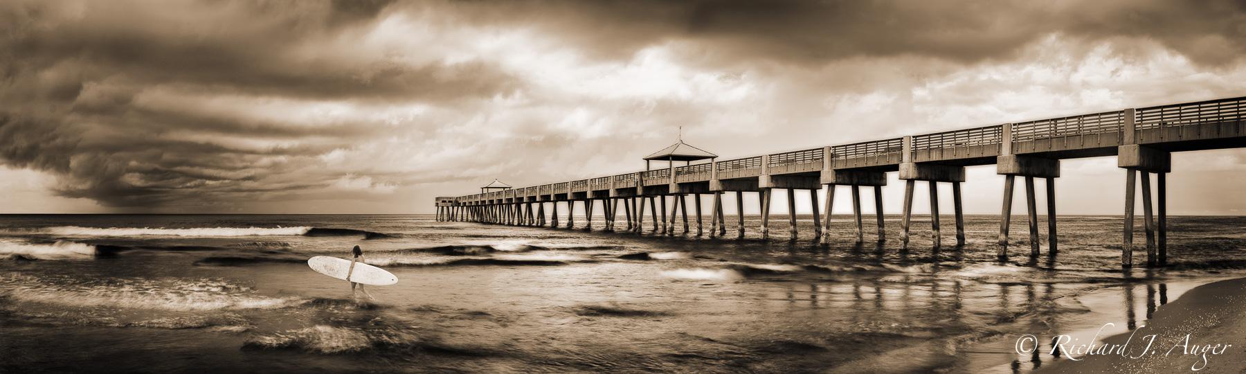 Juno Beach Pier, Florida, Palm Beach, Surfer Girl, Storm, Photograph, Photographer, Ocean, Waves, sepia tone, black and white, panorama