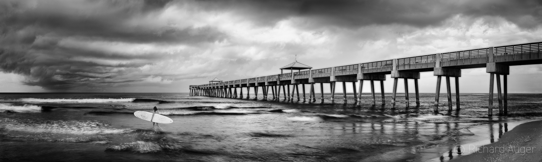 Juno Beach Pier, Florida, Palm Beach, Surfer Girl, Storm, Photograph, Photographer, Ocean, Waves, black and white, panorama