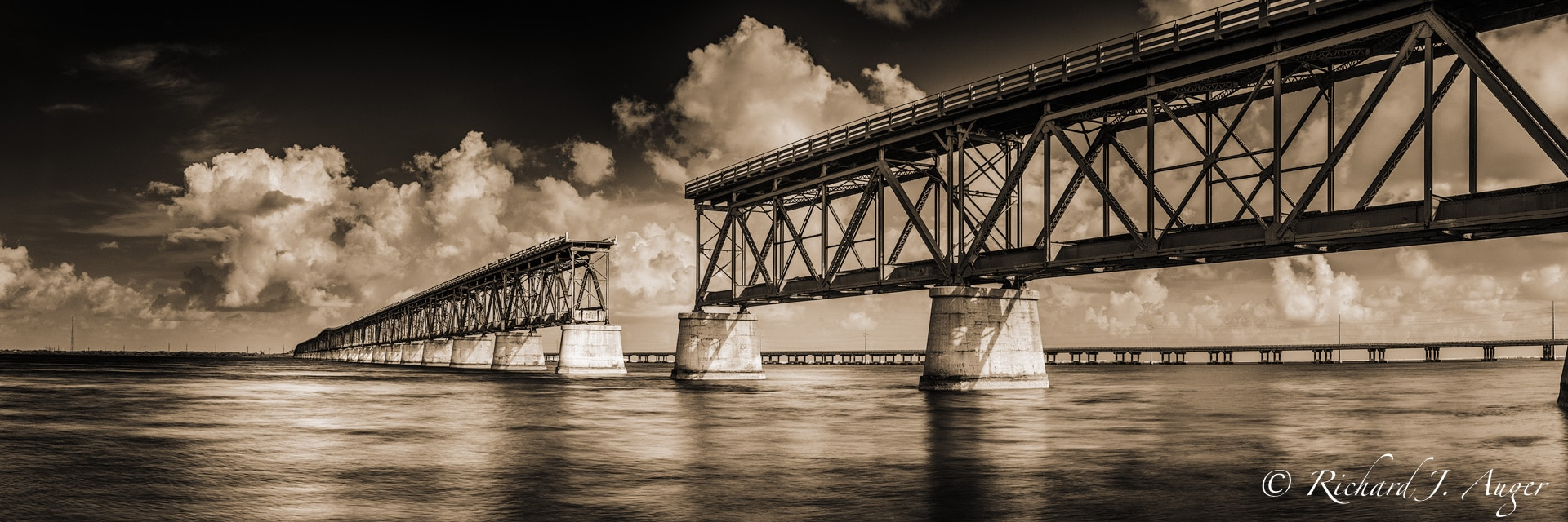Bahia Honda Bridge, Bahia Honda State Park, Florida Keys, Historic, Water, Ocean, Sepia, Landscape, photographer, photograph, sepia tone, black and white, panorama