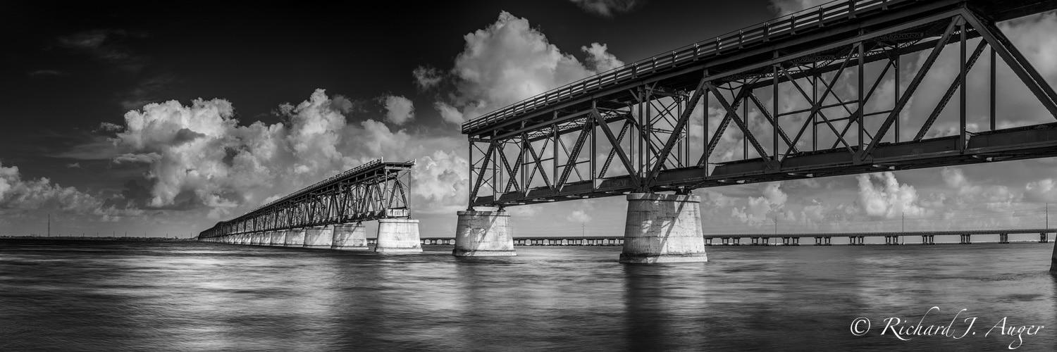Bahia Honda Bridge, Florida Keys, Black and White, Panorama, Photograph