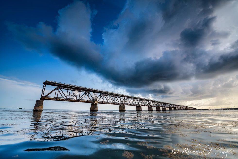 Bahia Honda Bridge, Florida Keys, Stormy, Railway, Waves Seascape, Photograph, Landscape