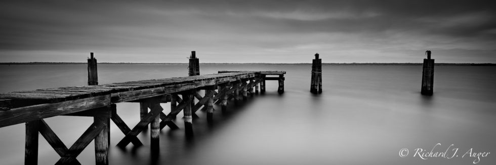 Old Pier, Lake Monroe, Sandford, Florida, Black and White, Photographer, Photograph, Landscape, Water, Long Exposure, Storm, Moody, Panorama