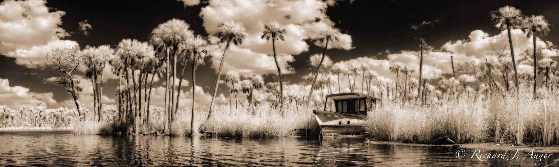 Chassahowitzka river, Florida, Chaz, boat, swamp, palm trees, coastal, storm, water, landscape, photographer, sepia tone, black and white, panorama