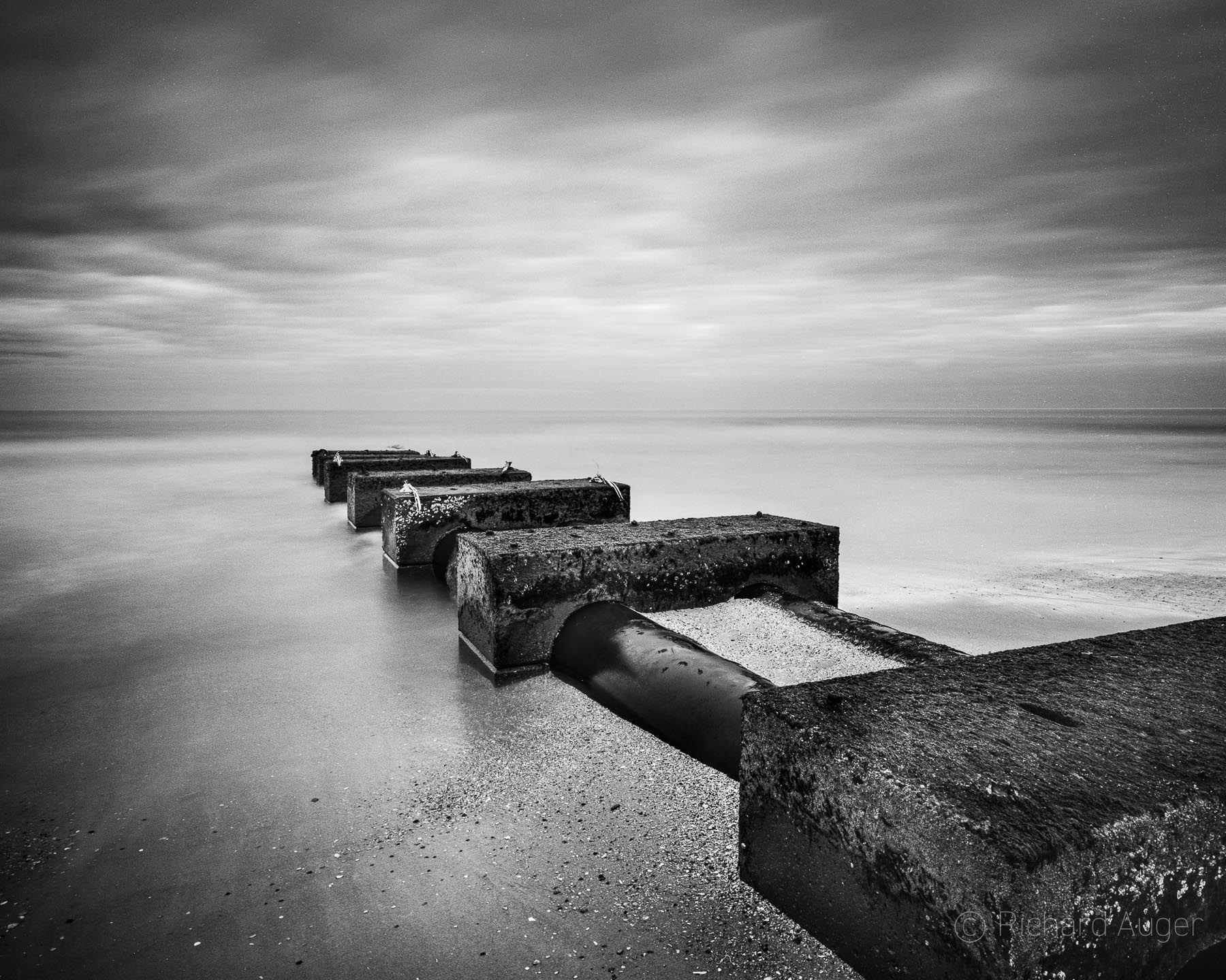 Outer Banks, North Carolina, Drain, Ocean, Beach, Long Exposure, Monochrome