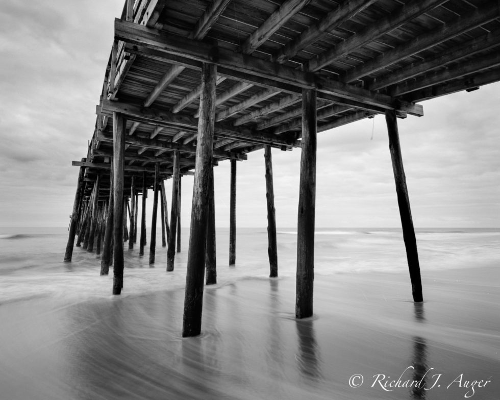 Outer Banks, North Carolina, Pier, Black and White, Photograph