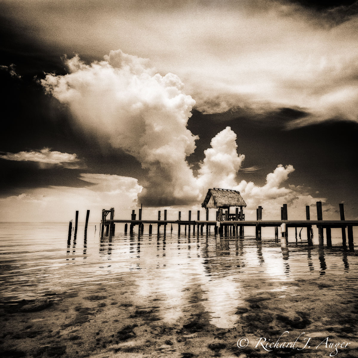 Pigeon Key, Florida Keys, Overseas Highway, Dock, Shack, Clouds, Storm, Film, Sepia, Landscape, Monochrome