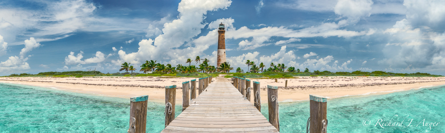 Loggerhead Key, Lighthouse, Dry Tortugas, Dock, Caribbean, Palm Trees, Panorama, Tropics, Bright, Sunny, Midday