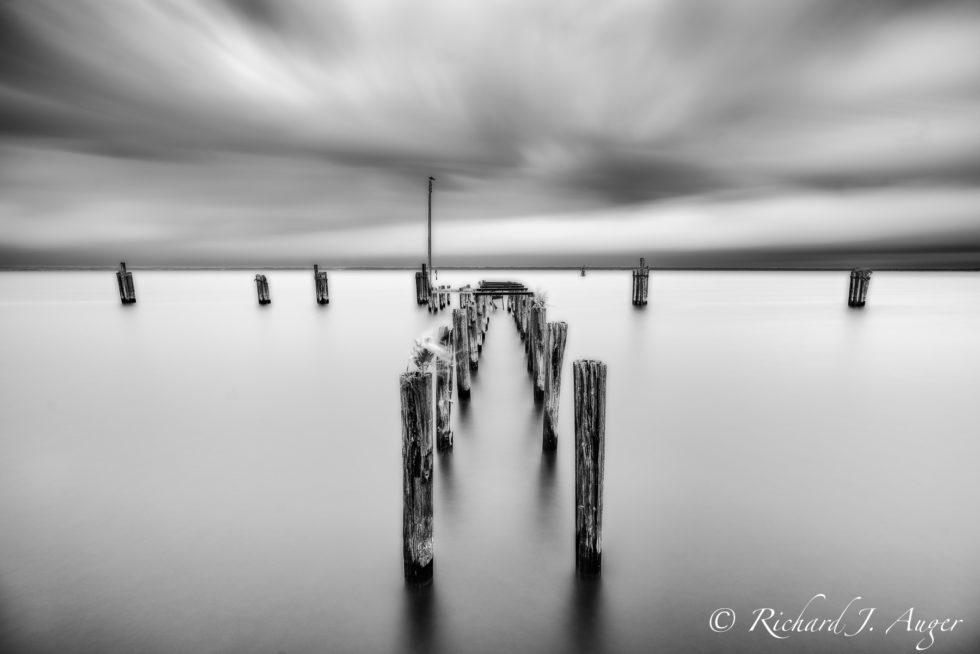 Sanford River Walk, Monroe Harbor Marine, Sanford, Florida, Jetty, Dock, Historic, Black and White, Long Exposure, Photograph