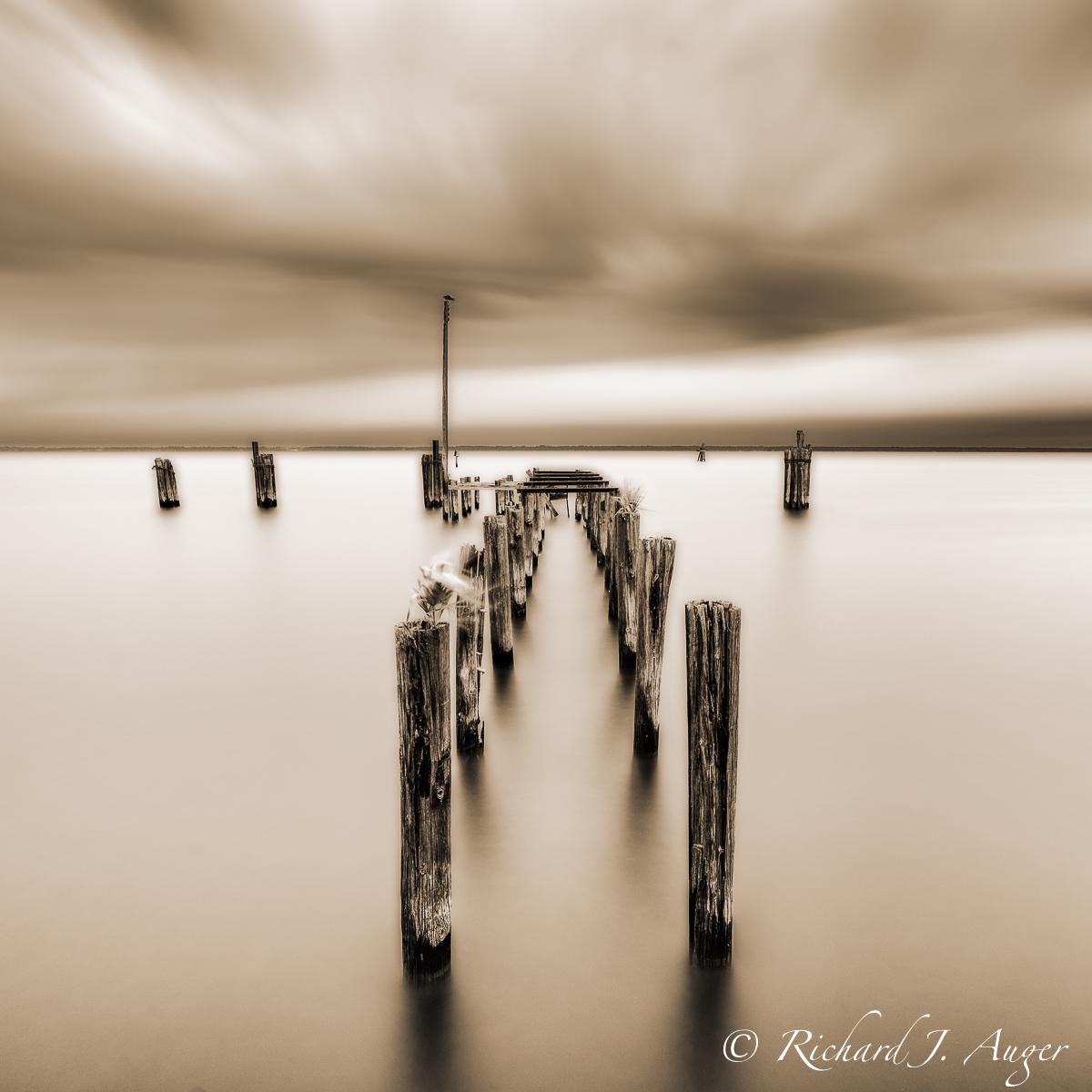 Lake Monroe, St Johns River, Historic Sandford Florida, lake, water, long exposure, photographer, photograph, pylons, dock, historic, square, sepia tone