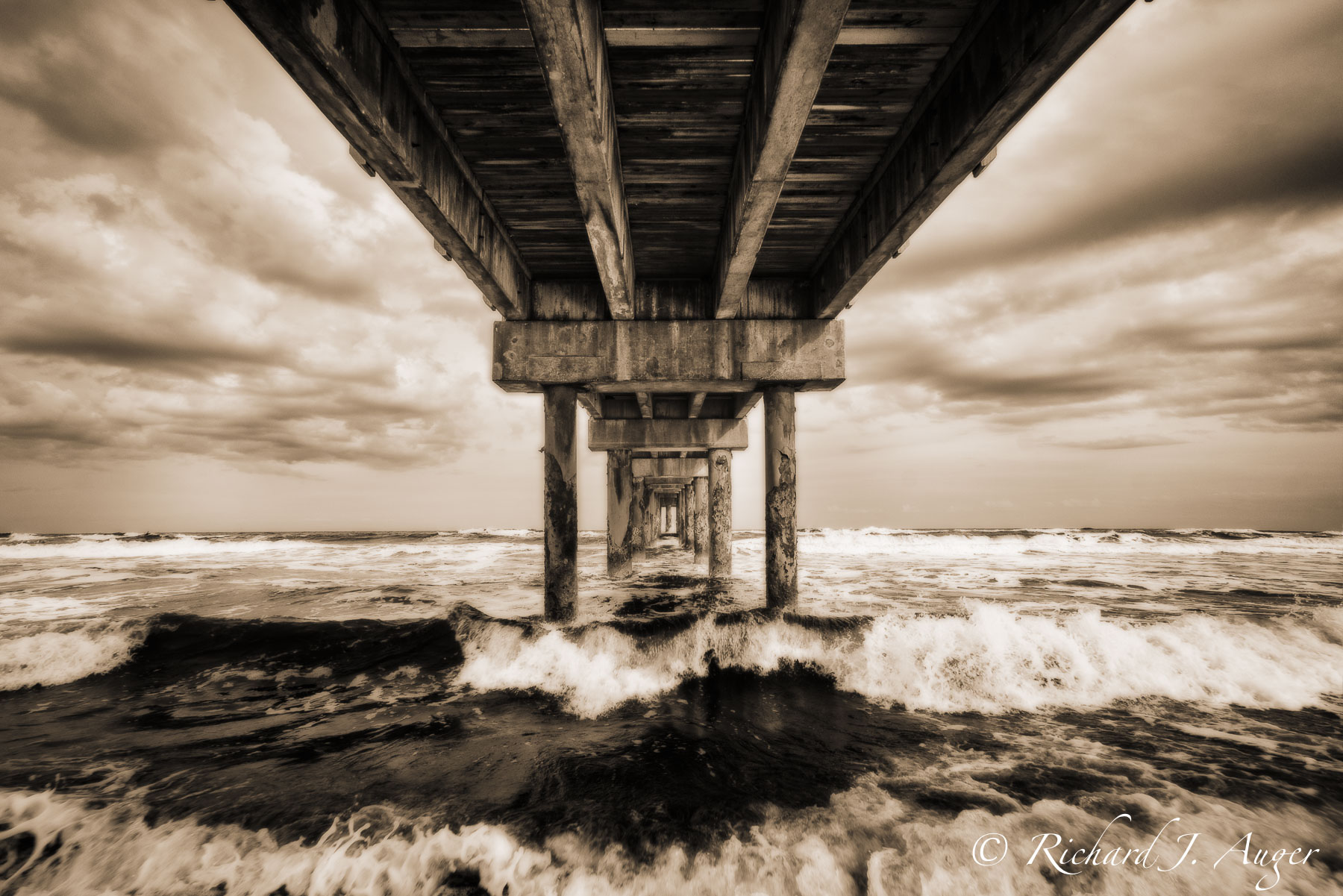 St Johns Pier, St Augustine, Florida, Historic, Fishing, Waves, Ocean, Stormy, Photography, Photographer, Sepia