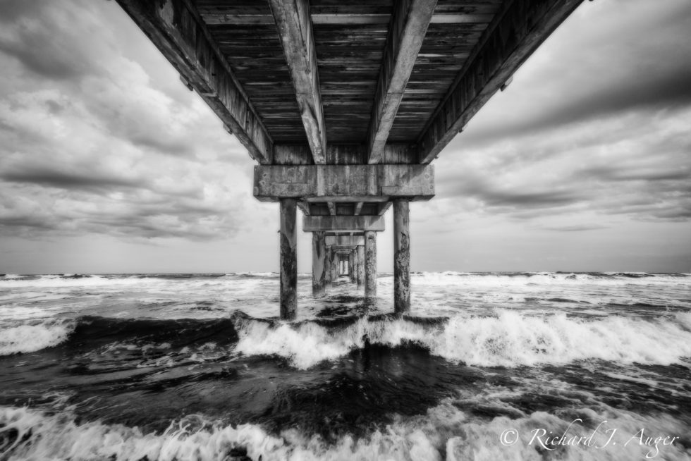 St Johns County Ocean Pier, St Augustine, Florida, Black and White, Photography, Clouds, Ocean, Movement, Waves