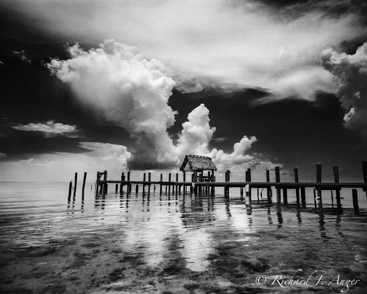 Pigeon Key, Florida Keys, Overseas Highway, Dock, Clouds, Storm, Landscape, Monochrome, photograph