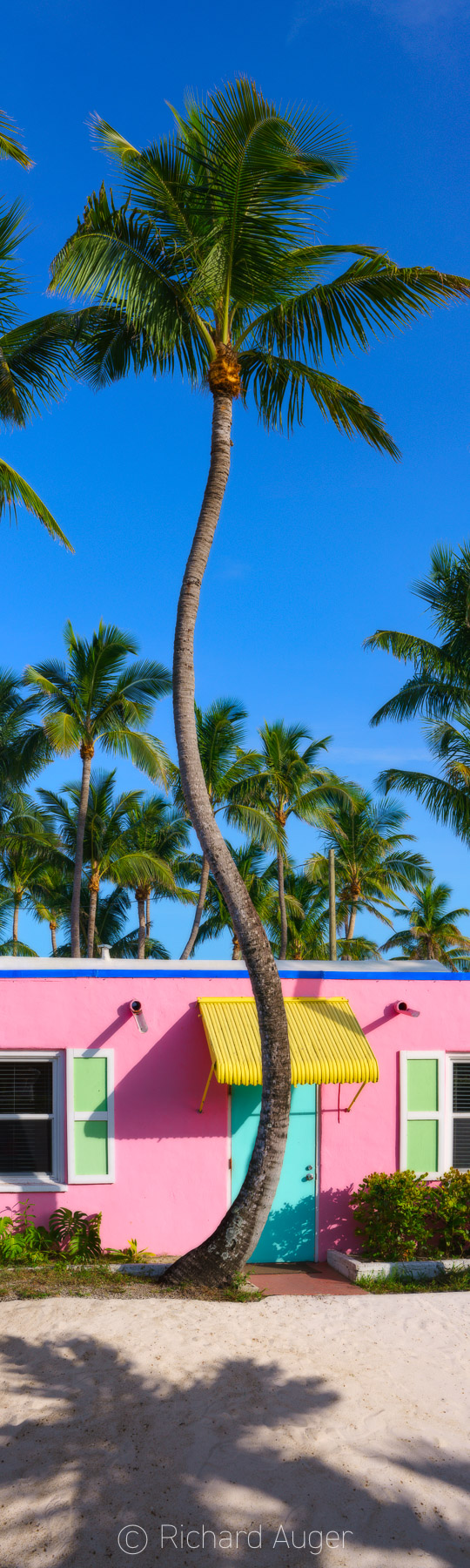 Islamorada, Florida Keys, Old Florida, Hotel, Pink. Blues, Sand, Palm Trees, Sky, Vertical Panorama, Photograph, Photographer