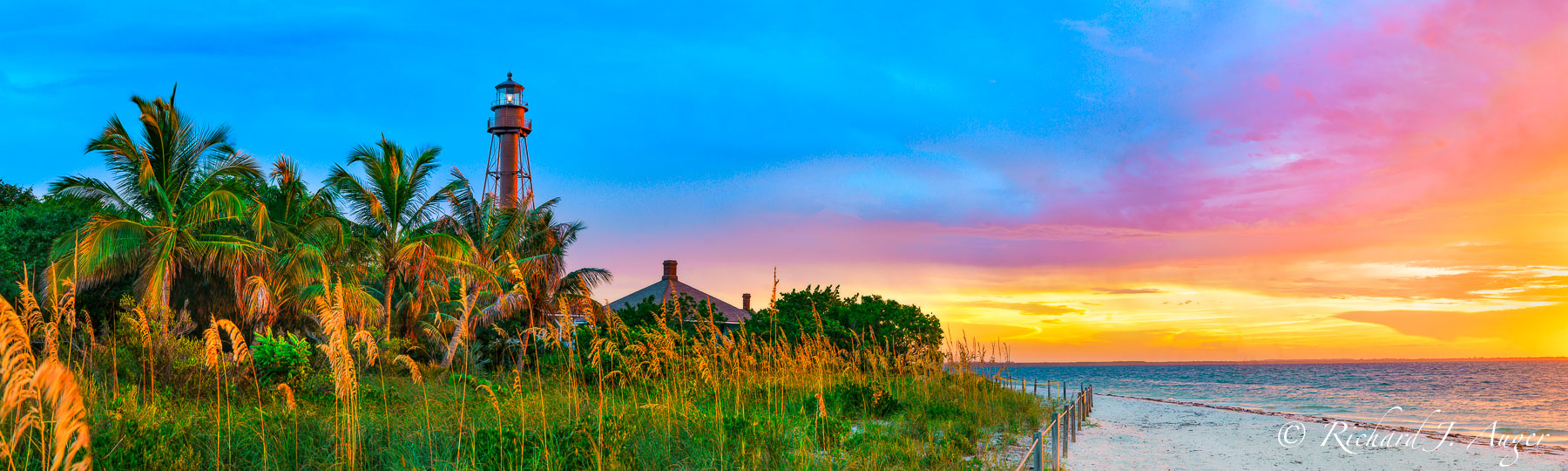 Sanibel Island, Lighthouse, Florida, Sunrise, Colorful, palm trees, sand, ocean, landscape, nature, photograph