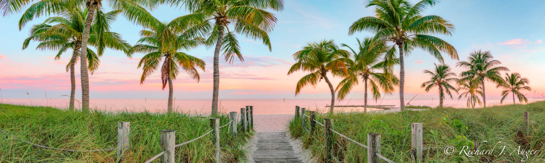 Smather's Beach, Key West, Florida, Ocean, Nautical, Palm Trees, Photograph, Panorama, Photography, Richard Auger