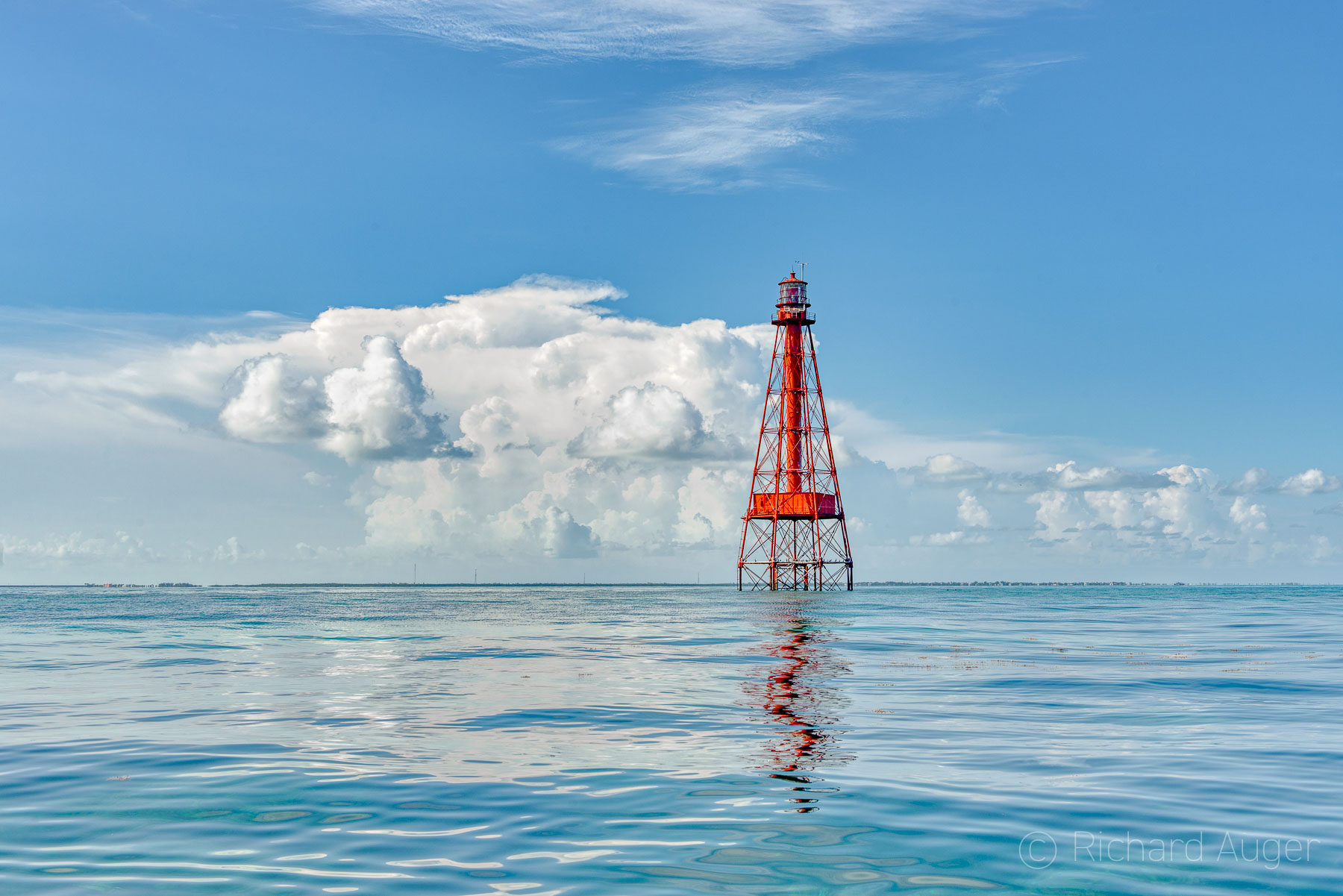 Sombrero Key Lighthouse, Florida Keys, Marathon, Morning, Sky, Reflections, Clouds, Photograph