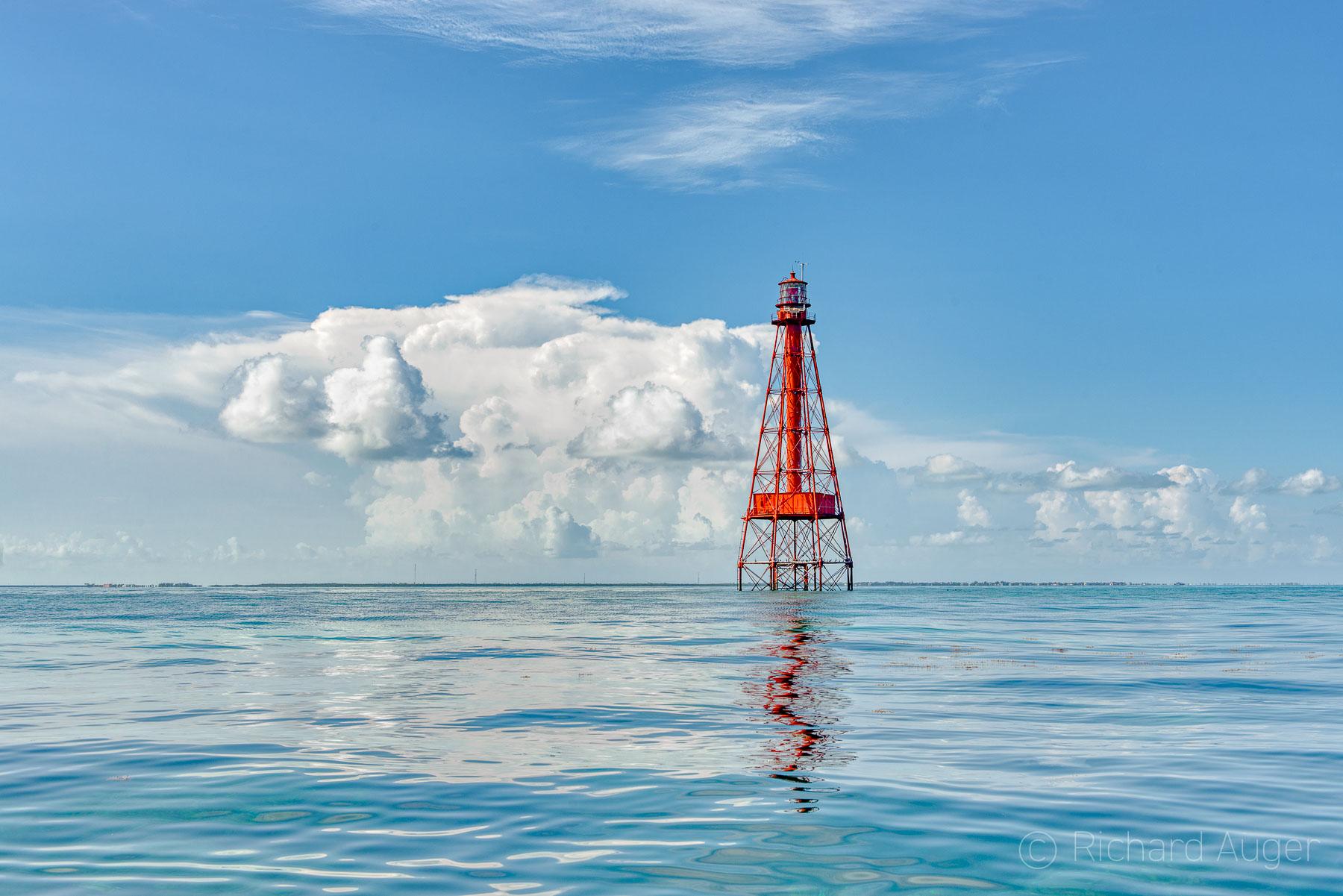 Sombrero Key Lighthouse, Florida Keys, Marathon, Morning, Sky, Reflections, Clouds, Photograph