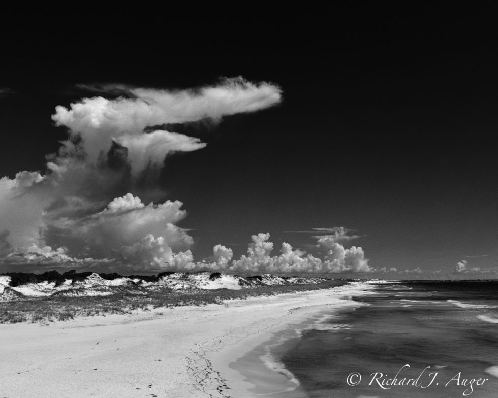 St Andrews Beach State Park, Florida Panhandle, Back and White, Beach, Ocean, Clouds, Sand Dunes, Image, Landscape