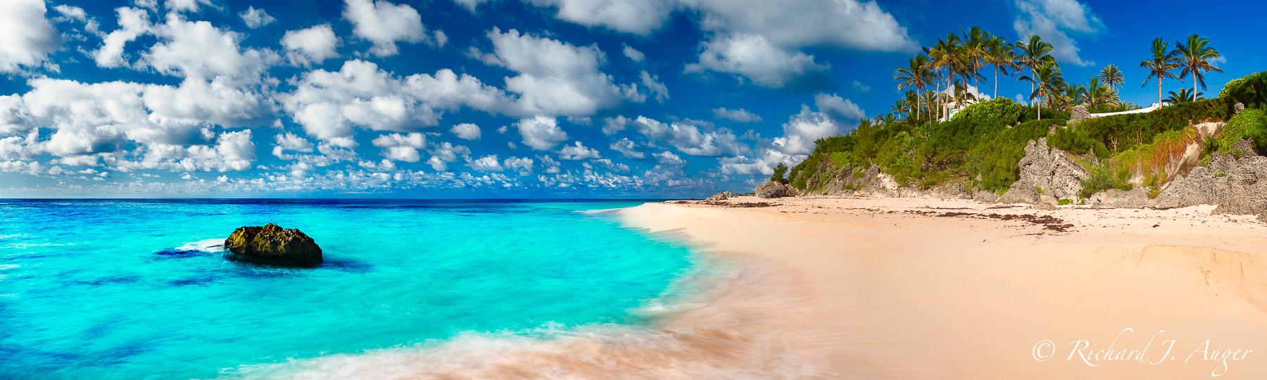 Warwick Bay, Bermuda, seascape, panorama, beach, clips, rocks, waves, ocean, palm trees, tropical, carribean, sunny, photograph