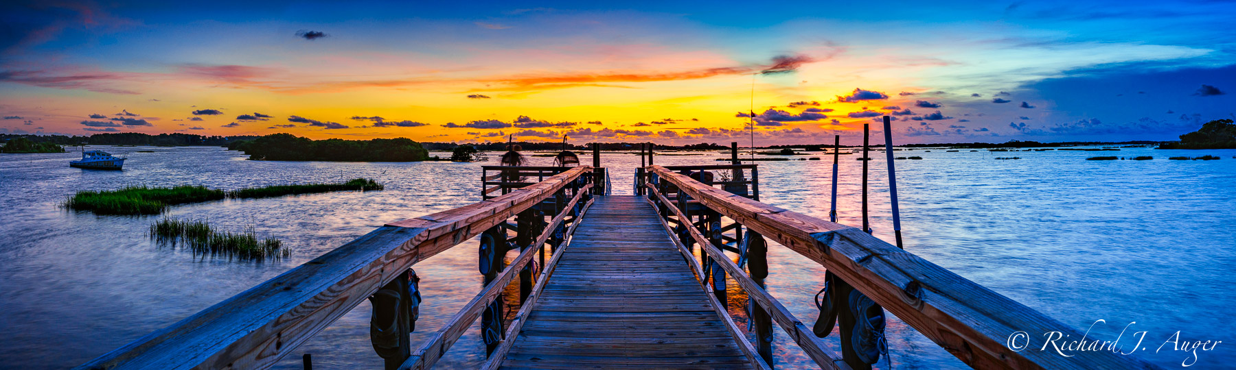 Cedar Key, Florida, dock, sunset, coastal, Jetty, Bay, Water, Panorama