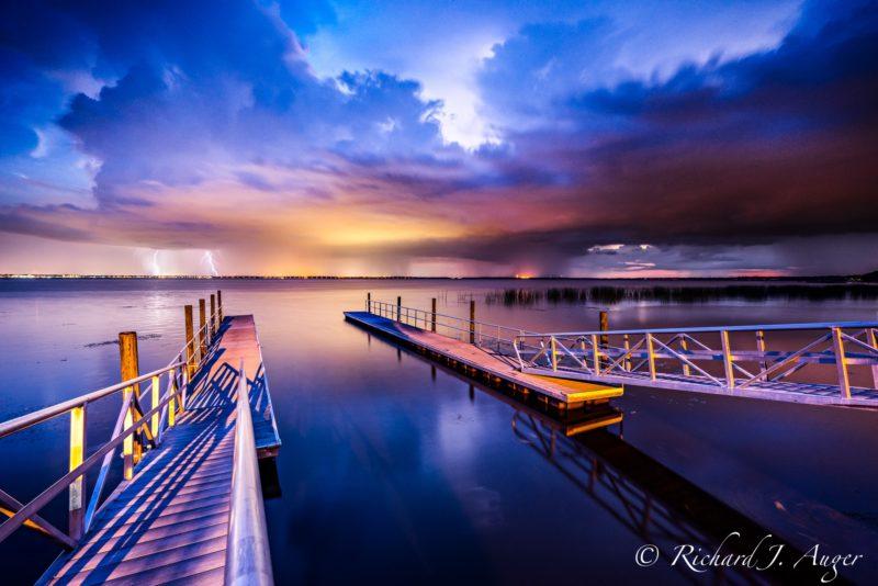 Lake Monroe, St Johns River, Deltona, Sanford, Florida, Boat Ramp, Lightning, sunset, moody, storm